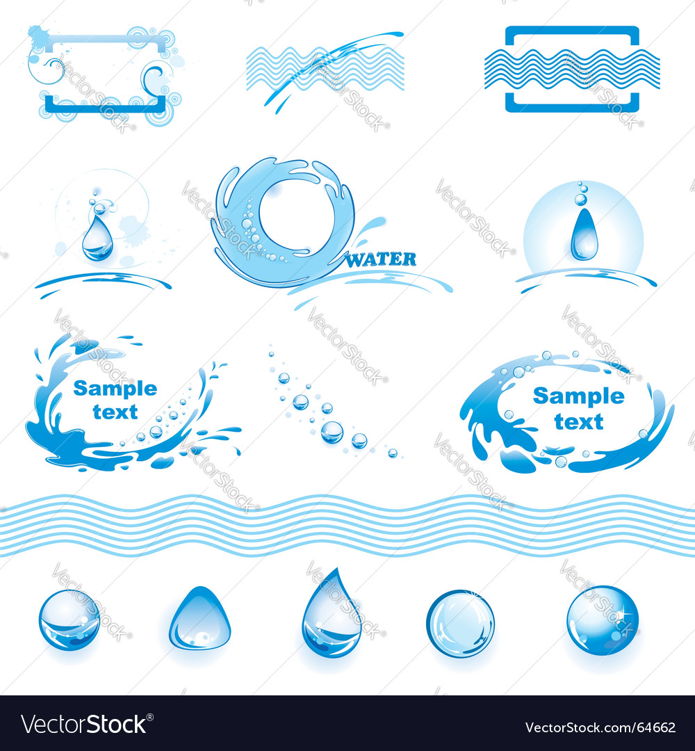 Set of water design elements vector | Price: 1 Credit (USD $1)