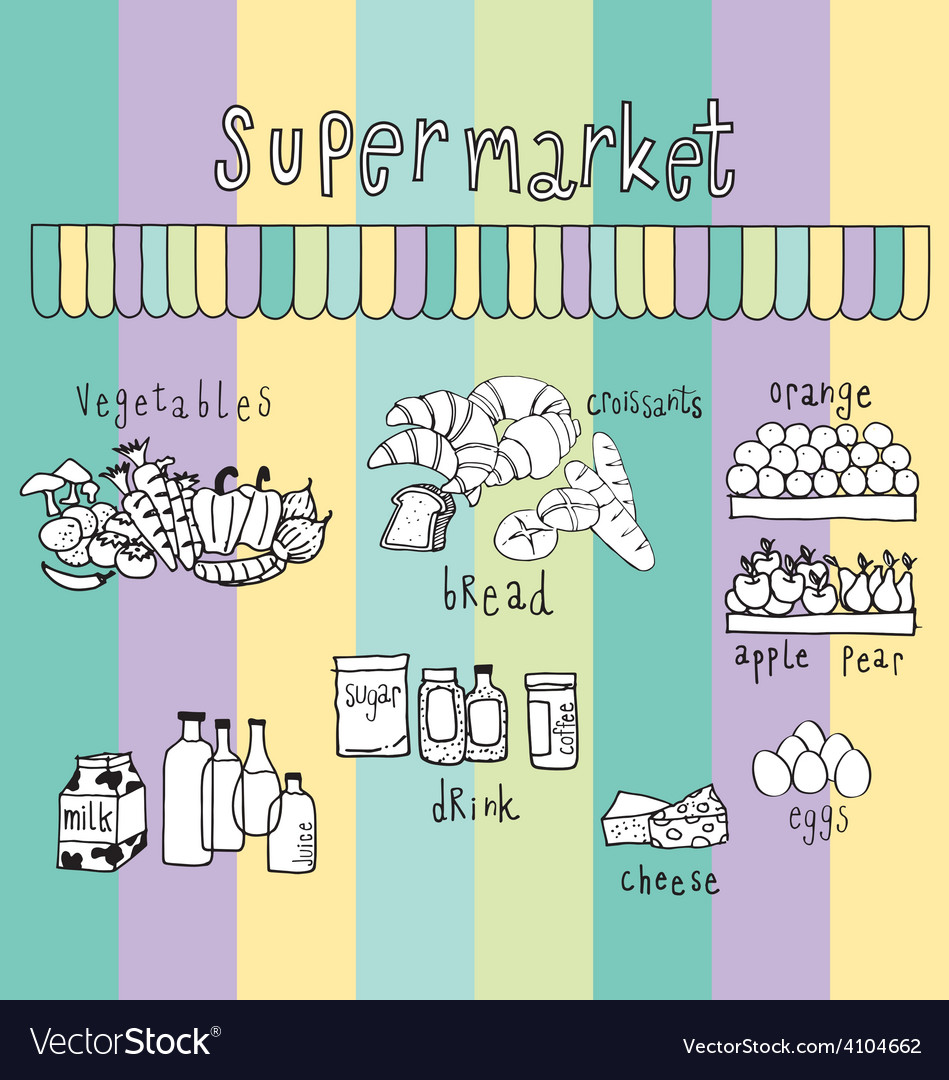 Supermarket doodle colorful vector | Price: 1 Credit (USD $1)
