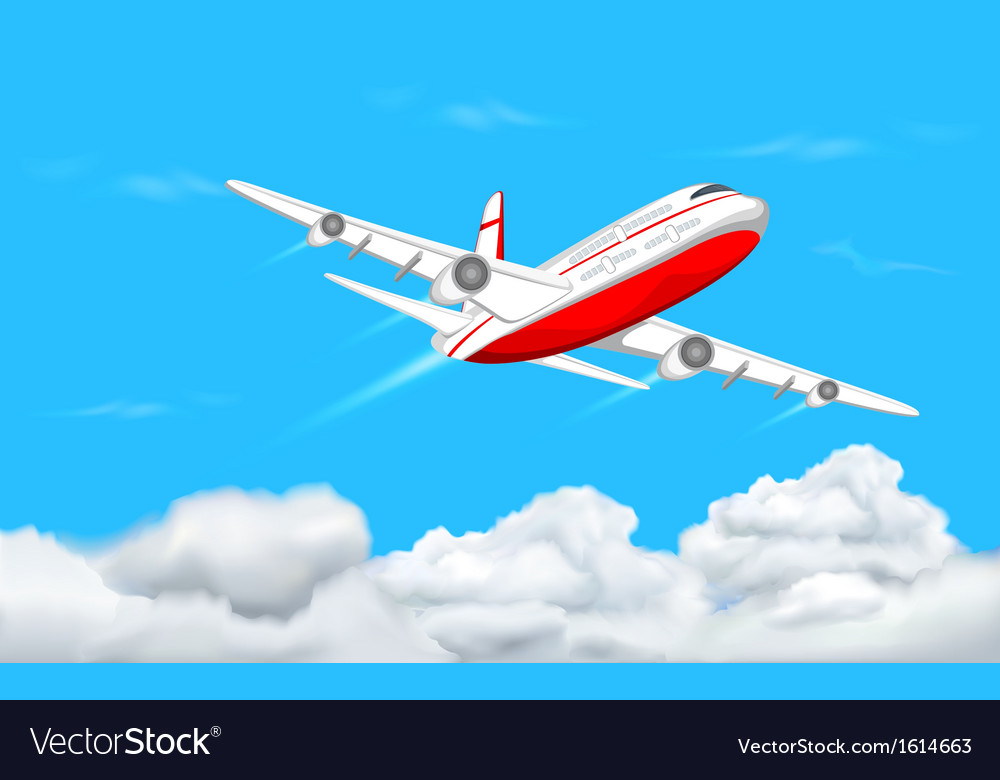 Airplane flying in sky vector | Price: 1 Credit (USD $1)