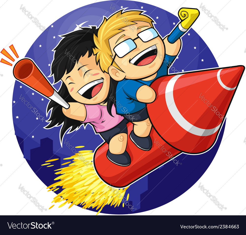 Cartoon of boy girl riding new year firework vector | Price: 1 Credit (USD $1)