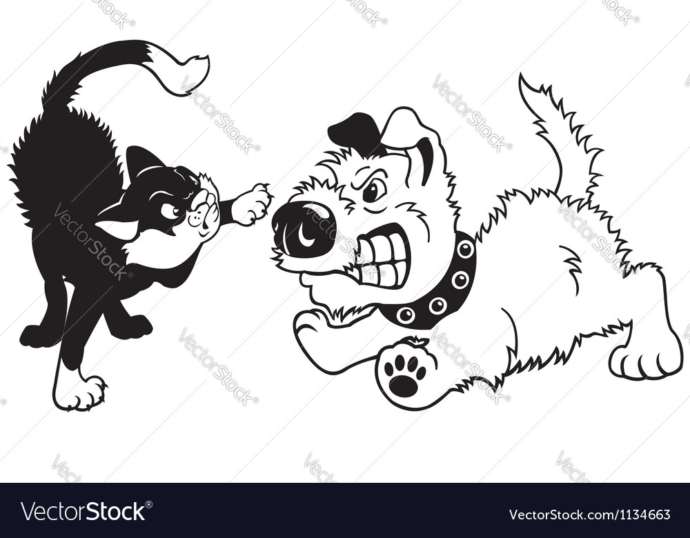 Dog and cat fighting vector | Price: 1 Credit (USD $1)