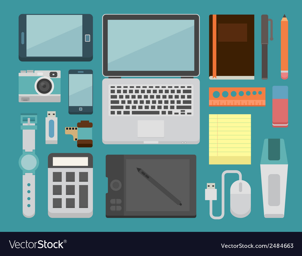 Office workplace essential vector | Price: 1 Credit (USD $1)