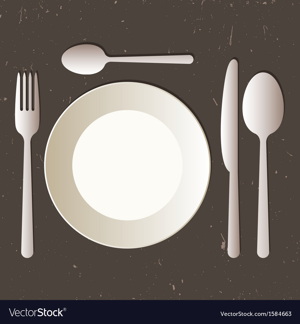 Place setting with plate knife spoons and fork vector | Price: 1 Credit (USD $1)