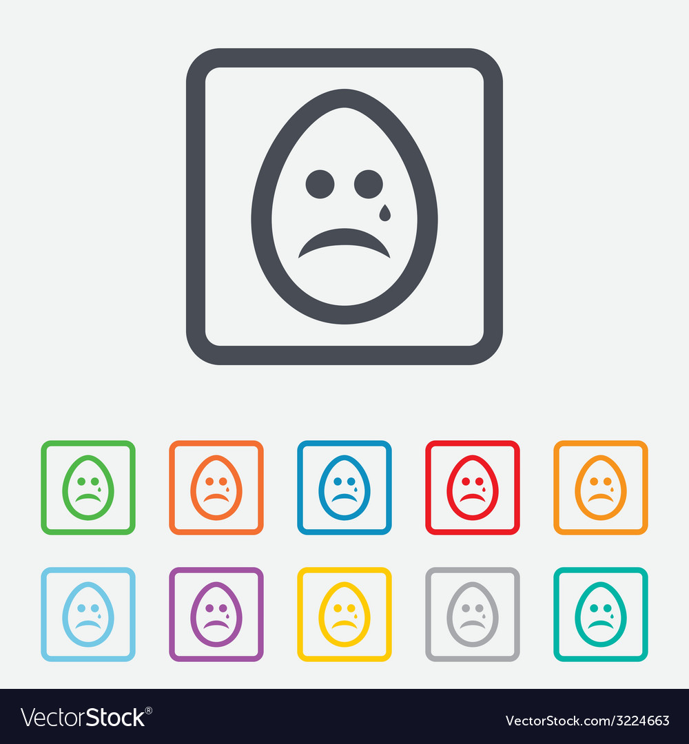 Sad egg face with tear sign icon crying symbol vector | Price: 1 Credit (USD $1)