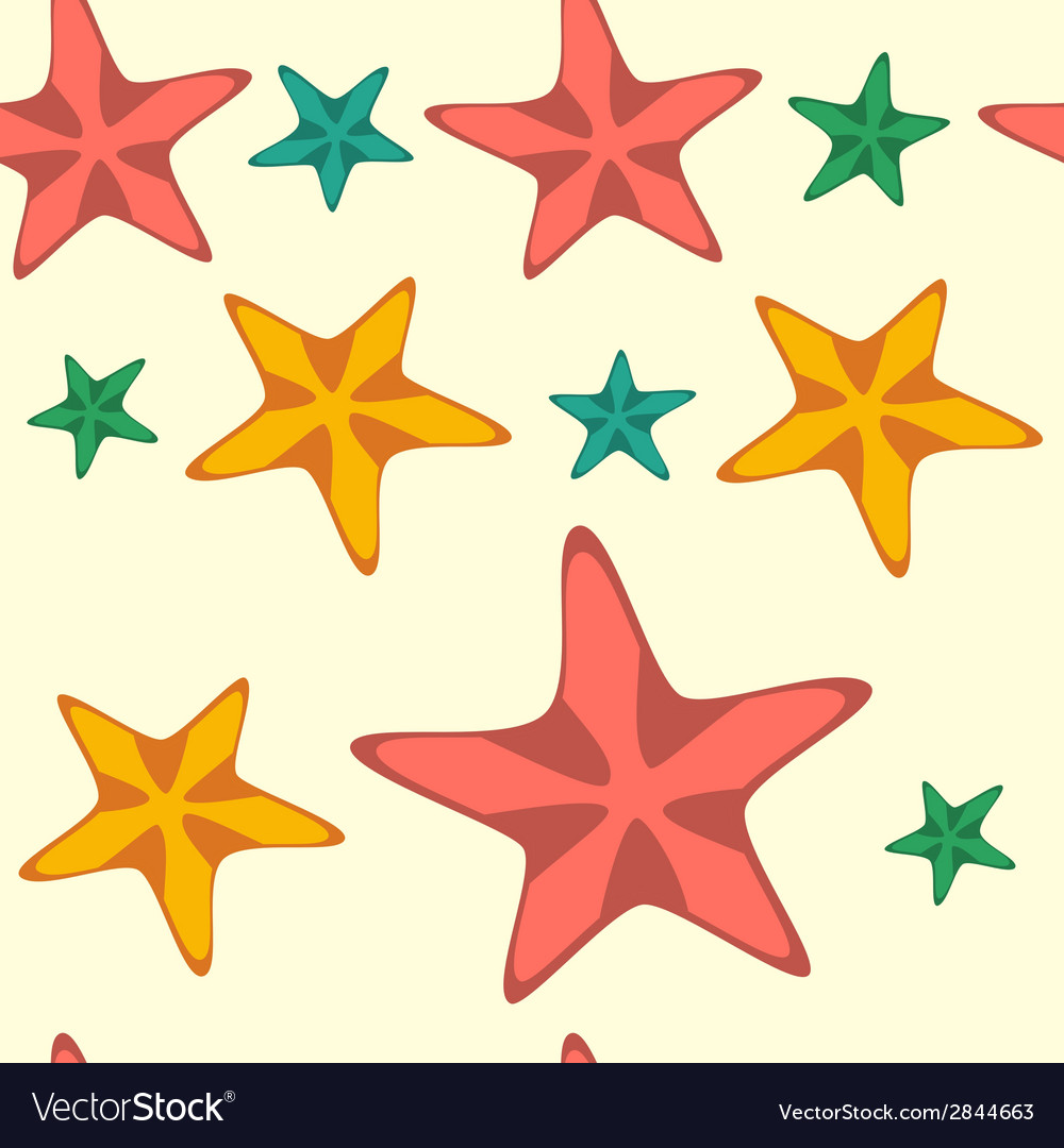 Seamless pattern with cartoon starfishes vector | Price: 1 Credit (USD $1)