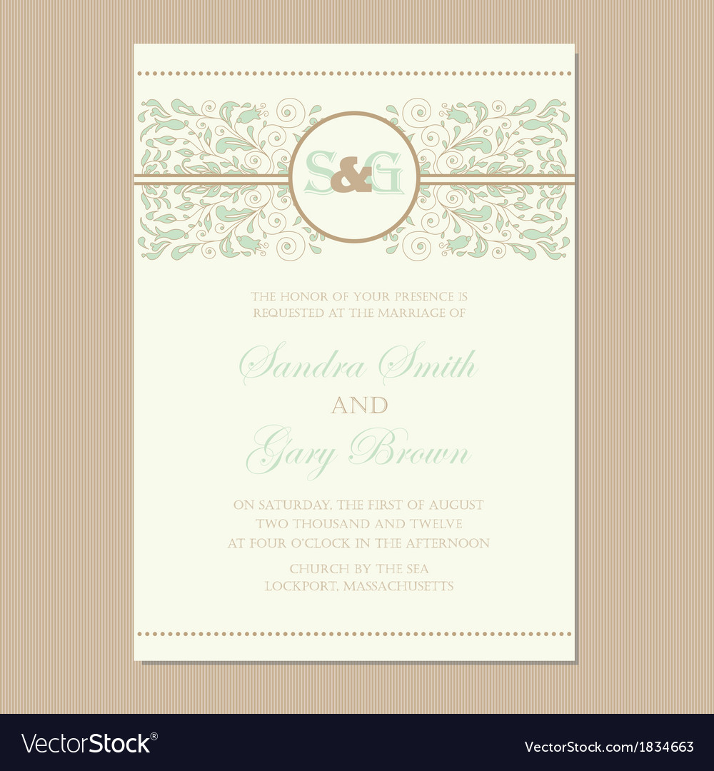 Wedding card with floral ornament vector | Price: 1 Credit (USD $1)