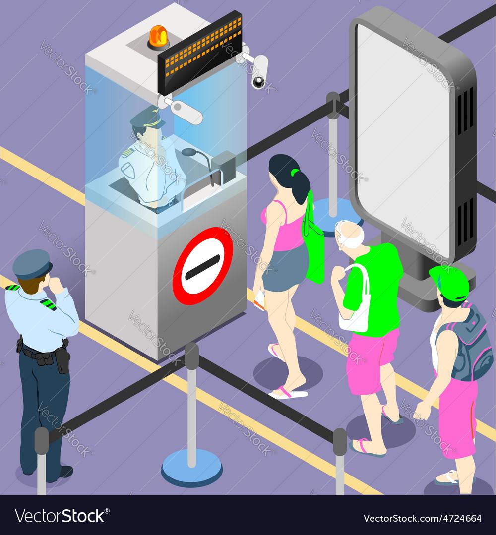 Airport duty people queue vector | Price: 3 Credit (USD $3)