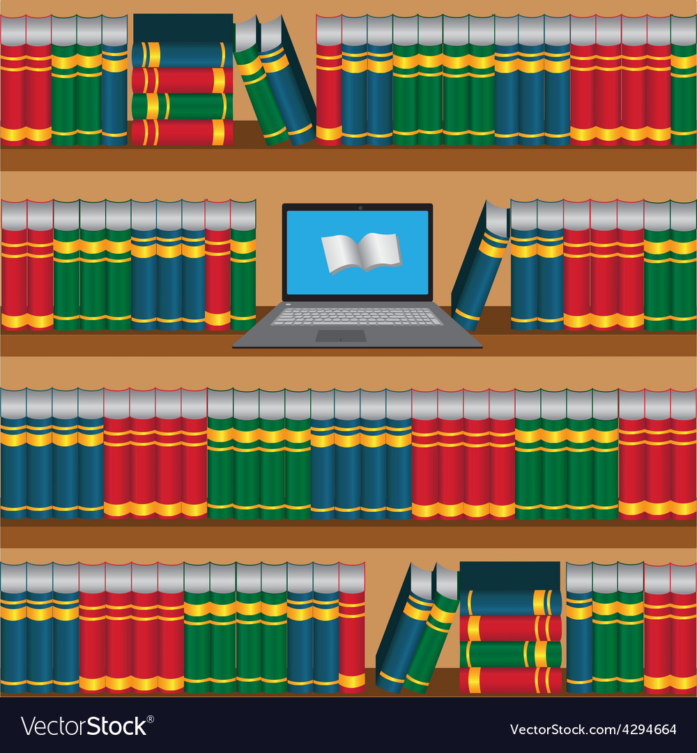 Book shelf with laptop online library vector | Price: 1 Credit (USD $1)
