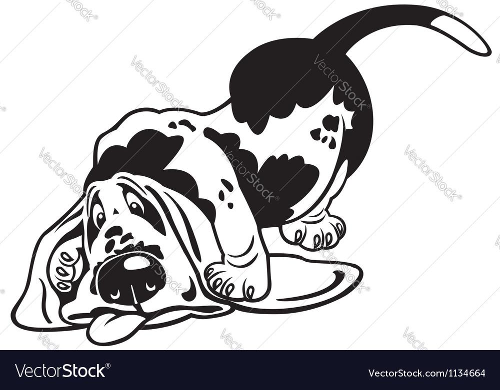 Cartoon basset hound black white vector | Price: 1 Credit (USD $1)