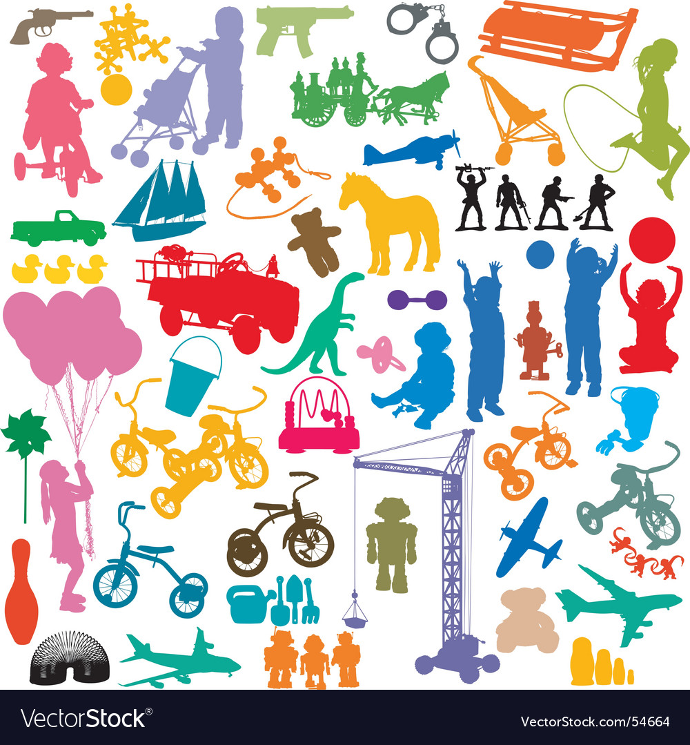Children and toys vector | Price: 1 Credit (USD $1)