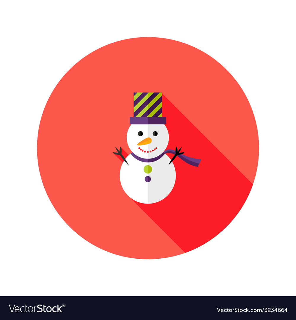 Christmas snowman with topper hat flat icon vector | Price: 1 Credit (USD $1)