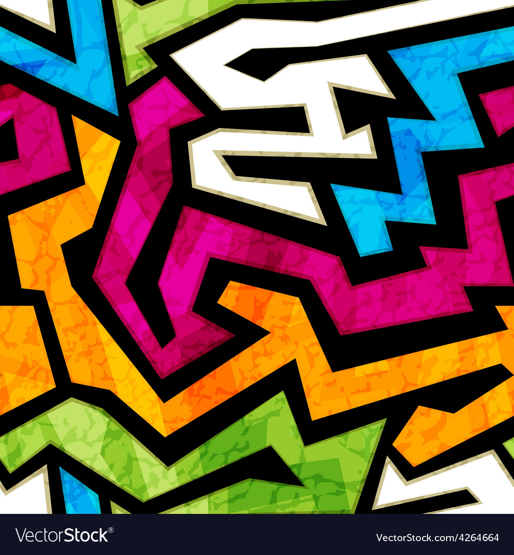 Colored graffiti seamless texture with grunge vector | Price: 1 Credit (USD $1)
