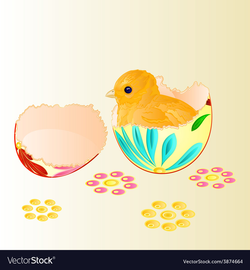 Easter chicken hatched from easter eggs vector | Price: 1 Credit (USD $1)