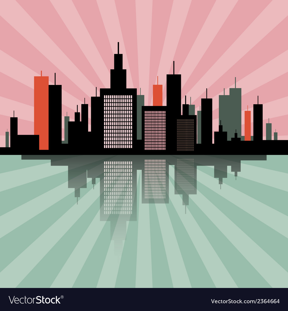 Evening - morning city scape retro skyline vector | Price: 1 Credit (USD $1)