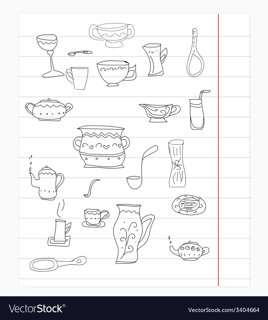 Kitchen equipment isolated hand drawn doodle vector | Price: 1 Credit (USD $1)