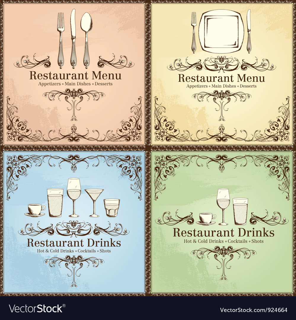 Restaurant cutlery and drinks set vector | Price: 3 Credit (USD $3)