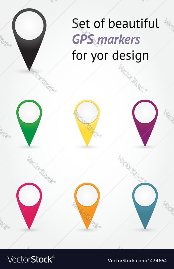 Set of gps markers vector | Price: 1 Credit (USD $1)