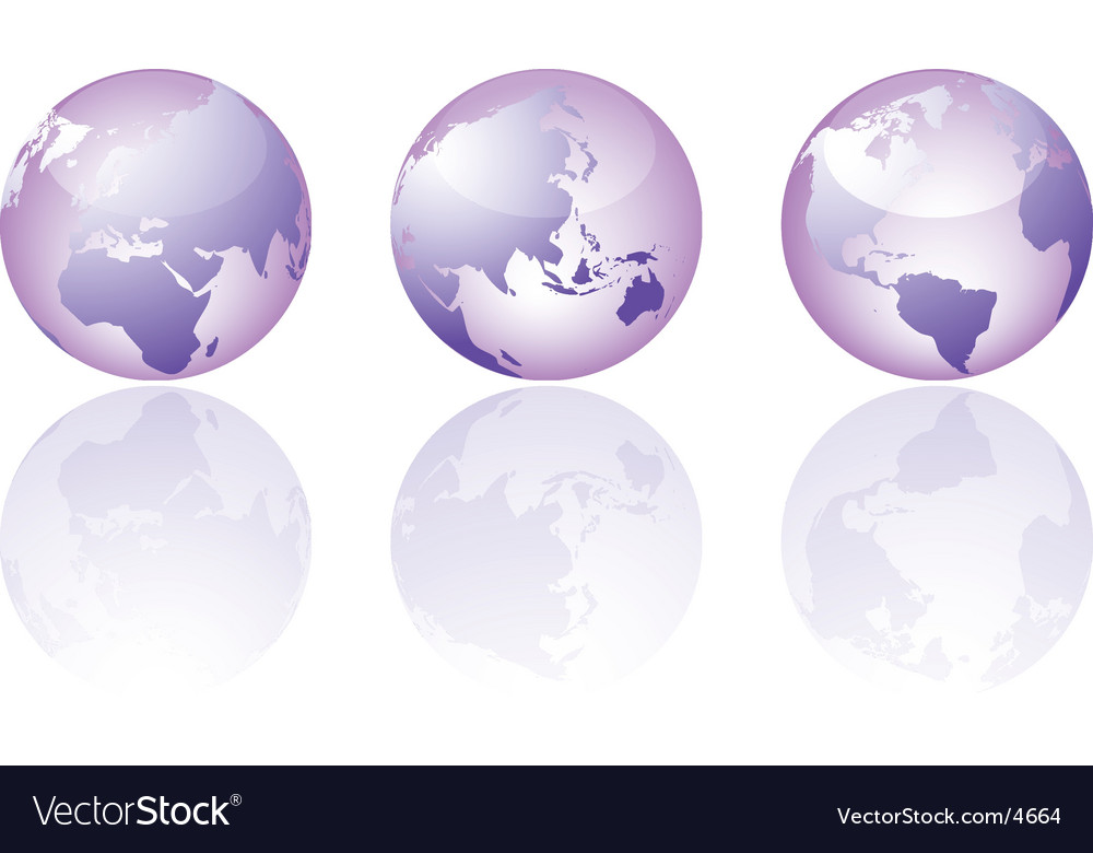 Three glass world globe views vector | Price: 1 Credit (USD $1)