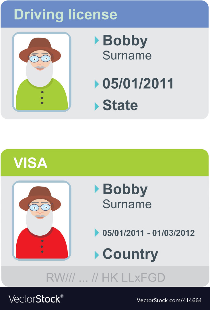 Visa and driving license vector | Price: 1 Credit (USD $1)