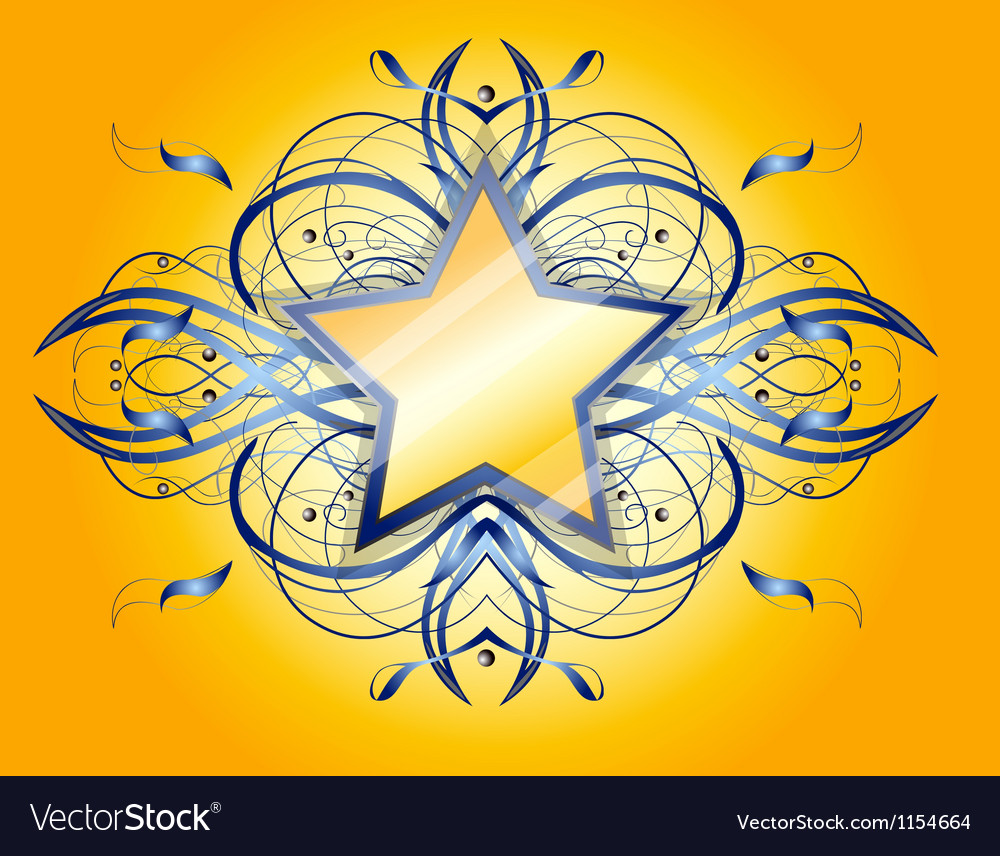 Yellow background with yellow and blue star vector | Price: 1 Credit (USD $1)