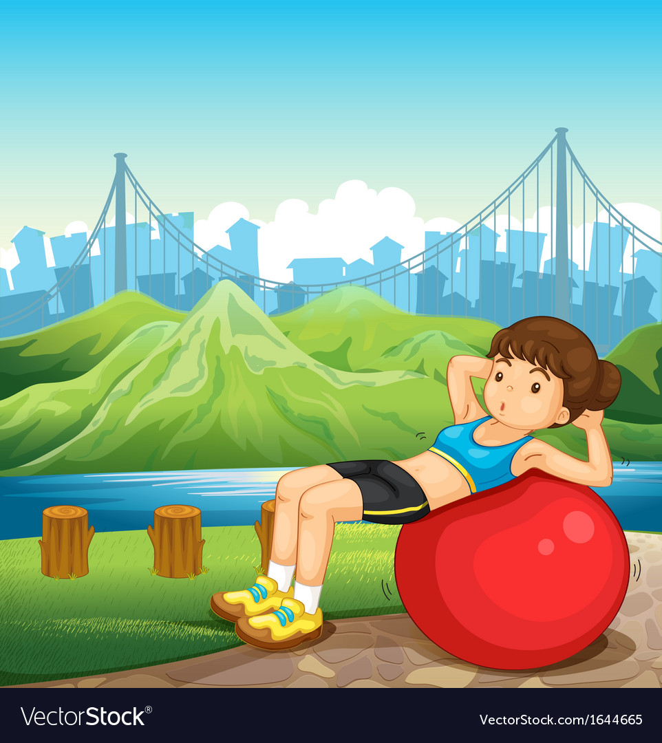 A girl exercising near the river across the tall vector | Price: 3 Credit (USD $3)