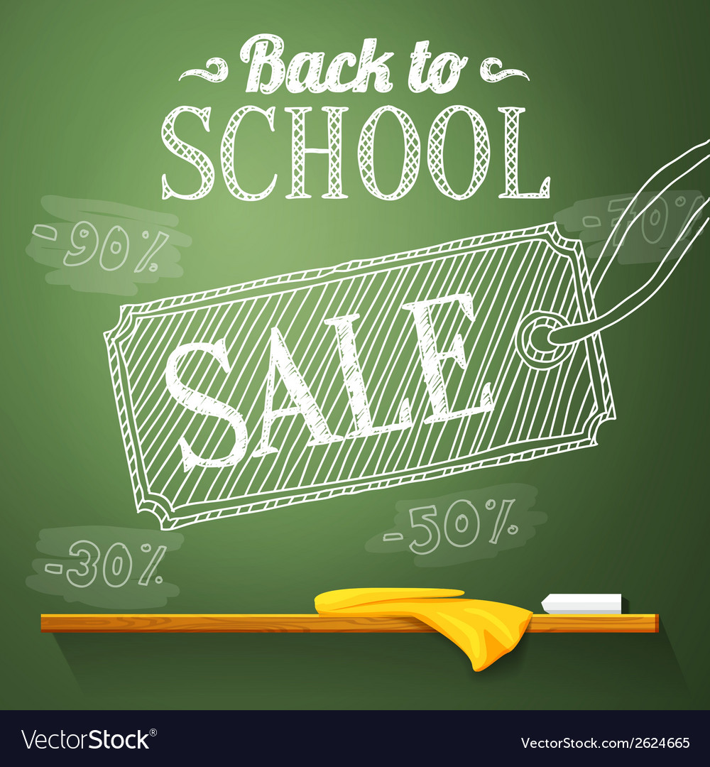 Back to school sale on the chalkboard with vector | Price: 1 Credit (USD $1)