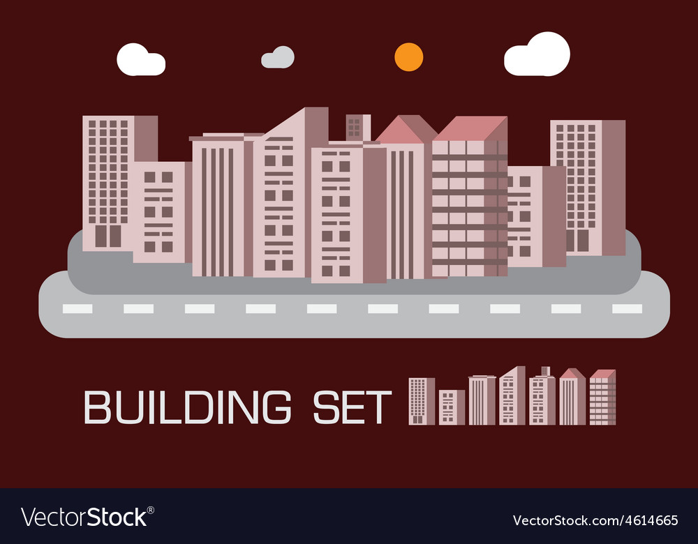 Building set red tone concept vector | Price: 1 Credit (USD $1)