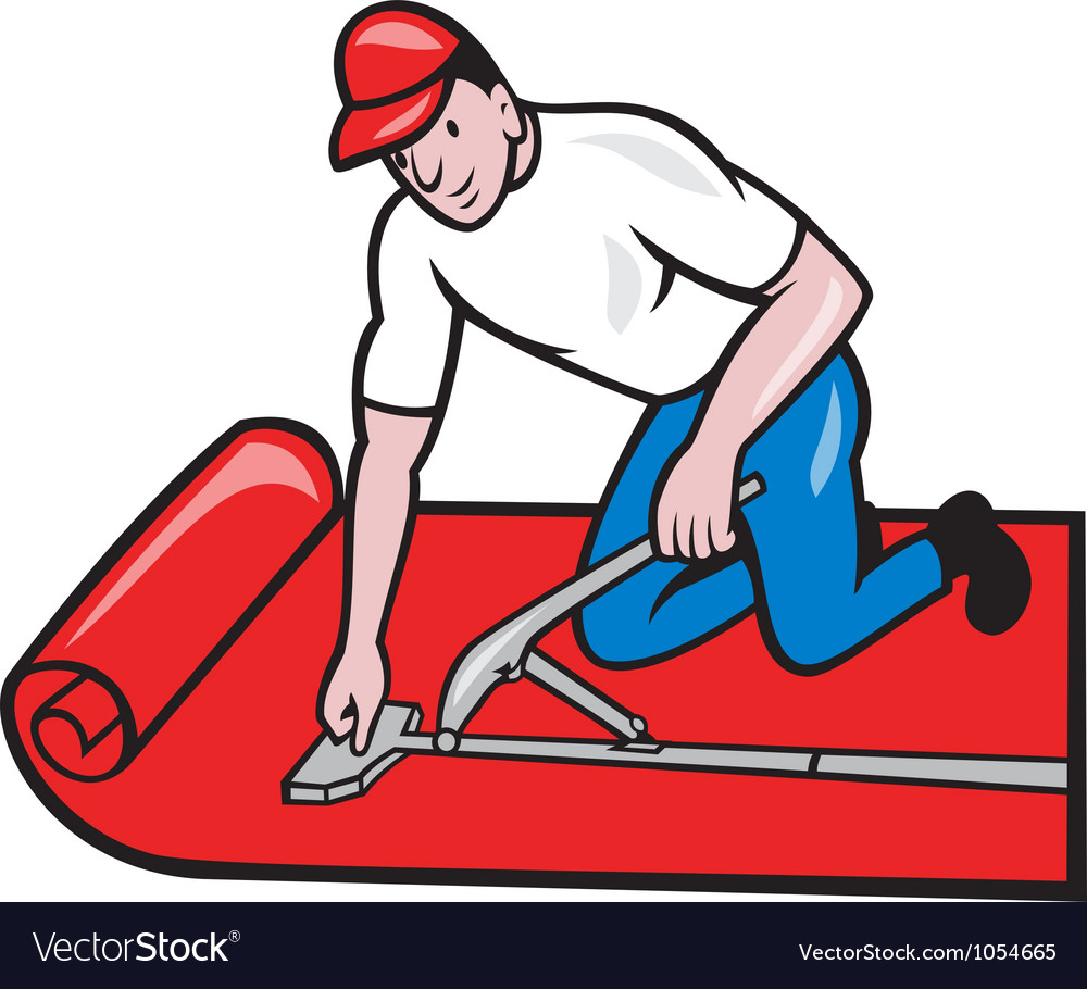 Carpet layer fitter worker cartoon vector | Price: 3 Credit (USD $3)