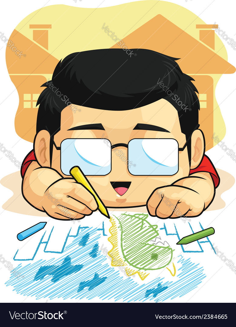 Cartoon of boy loves drawing doodling vector | Price: 1 Credit (USD $1)