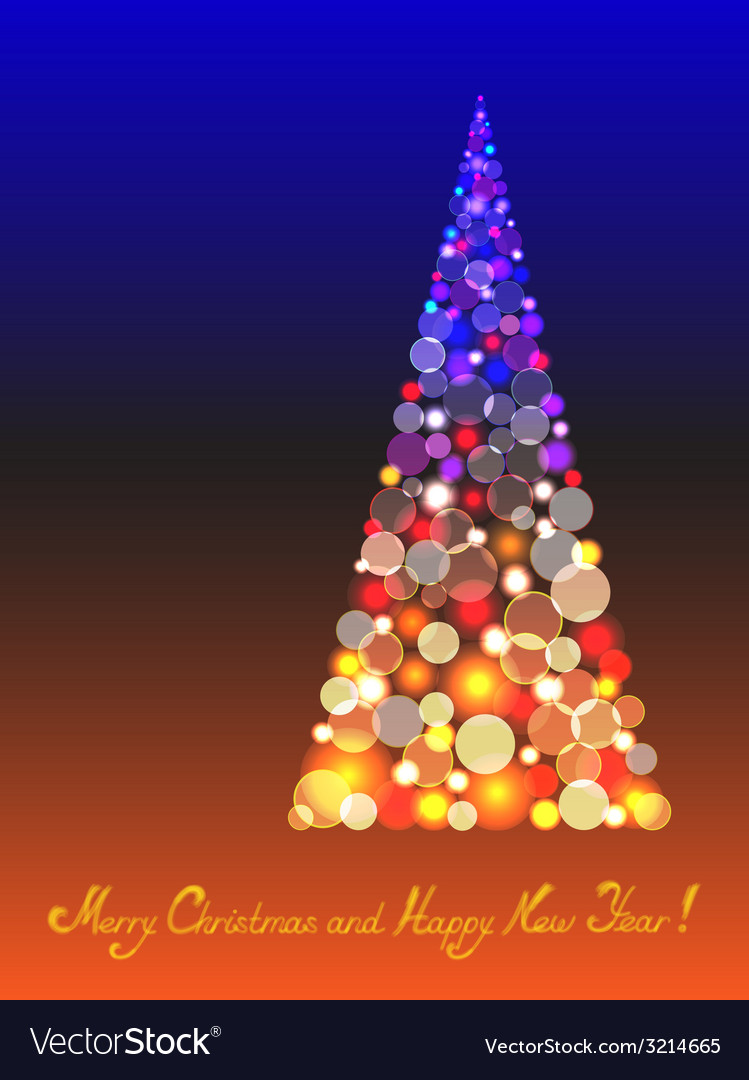 Christmas tree with shiny blur bokeh lights vector | Price: 1 Credit (USD $1)