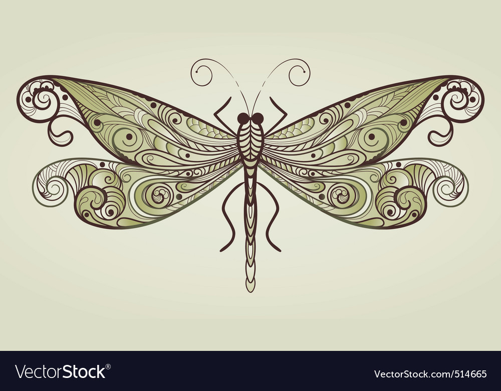 dragonfly with unique pattern vector | Price: 1 Credit (USD $1)