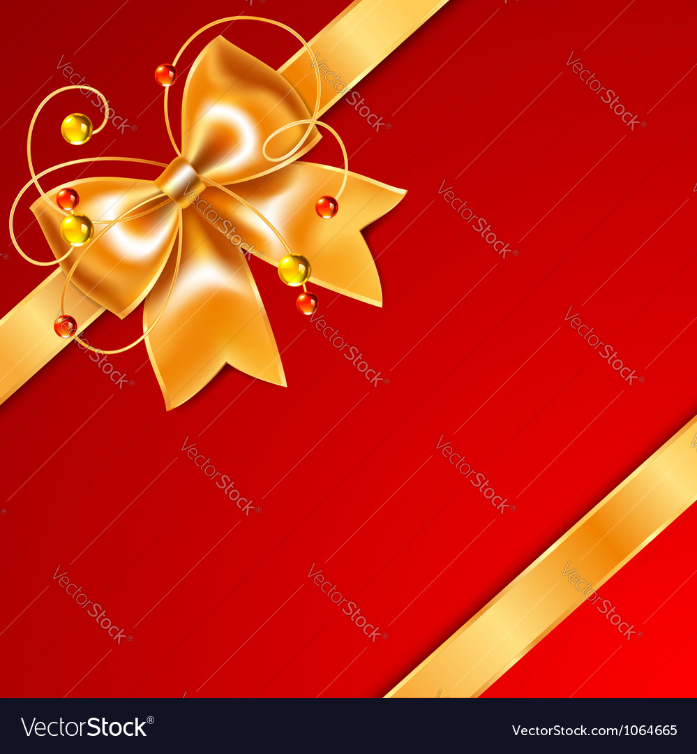 Golden bow of silk ribbon isolated on red vector | Price: 1 Credit (USD $1)