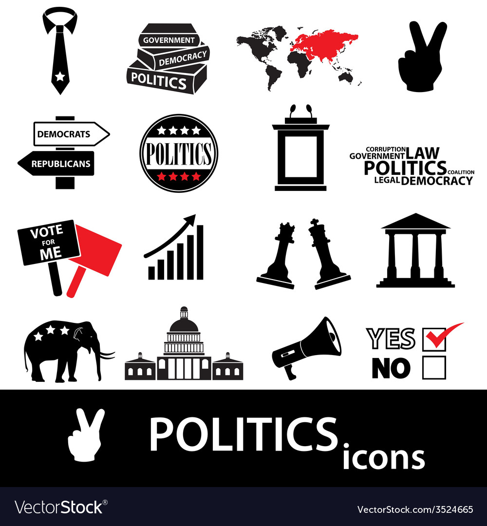 Politics black and red simple icons set eps10 vector | Price: 1 Credit (USD $1)