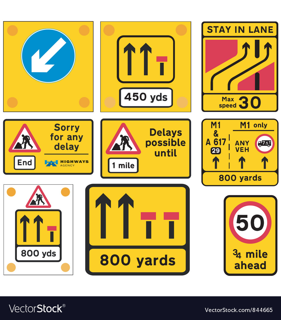 Road traffic work signs vector | Price: 1 Credit (USD $1)
