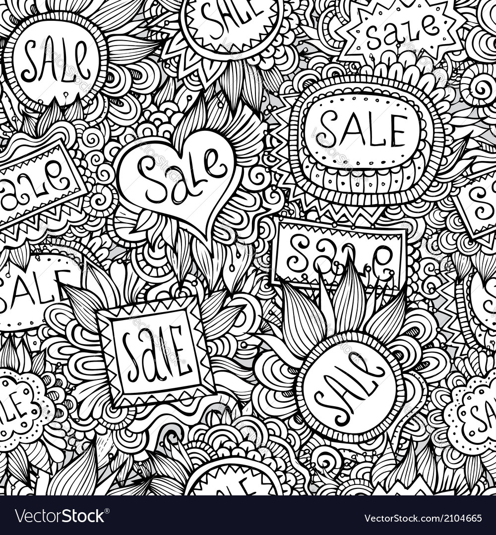 Sale nature labels seamless pattern vector | Price: 1 Credit (USD $1)