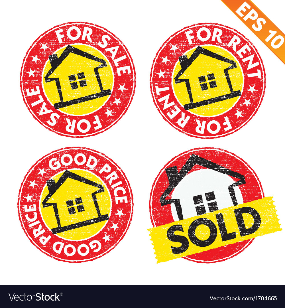 Stamp sticker house for sale collection - vector | Price: 1 Credit (USD $1)