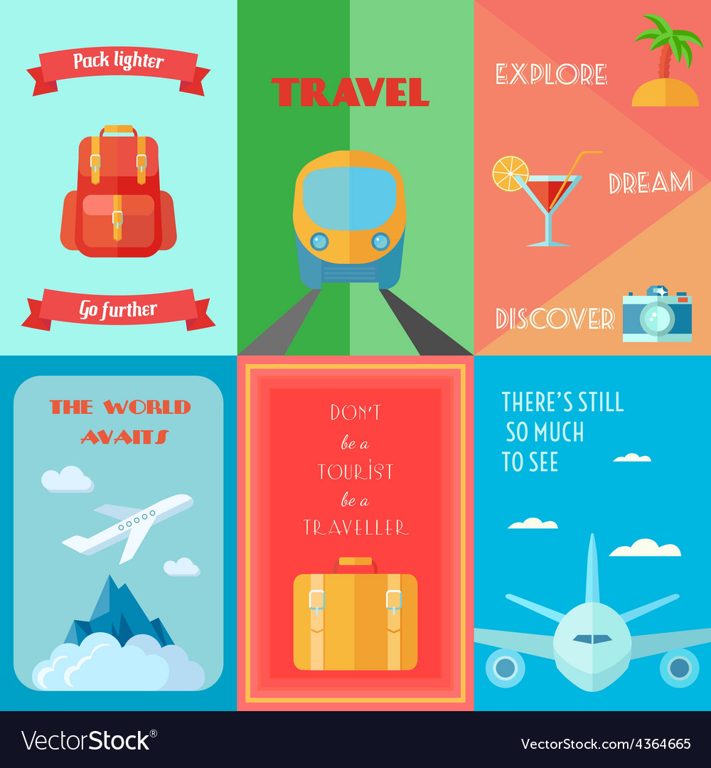 Travel poster set vector | Price: 1 Credit (USD $1)