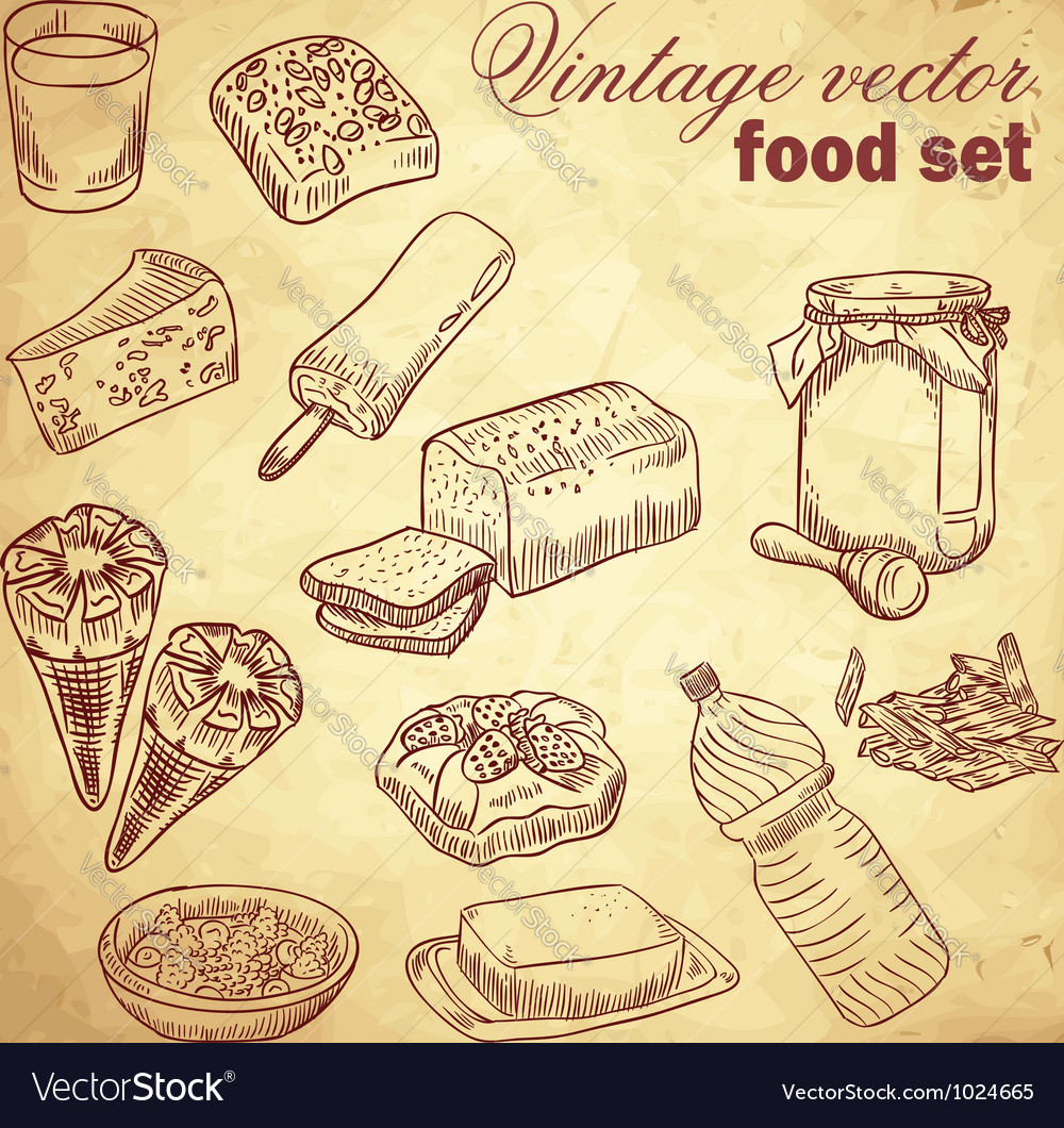 Vintage hand-drawn food set vector | Price: 1 Credit (USD $1)