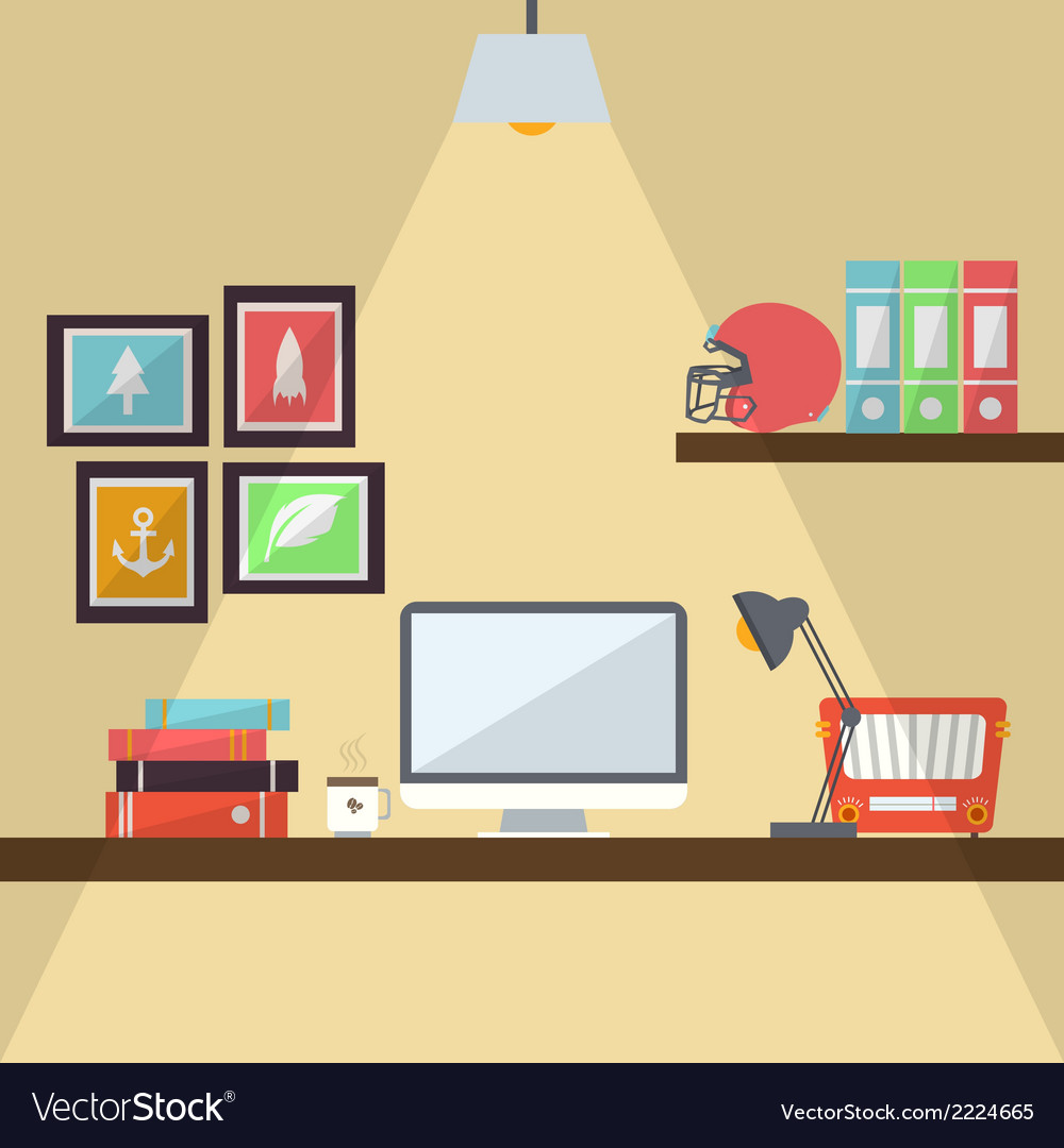 Workstation flat design vector | Price: 1 Credit (USD $1)