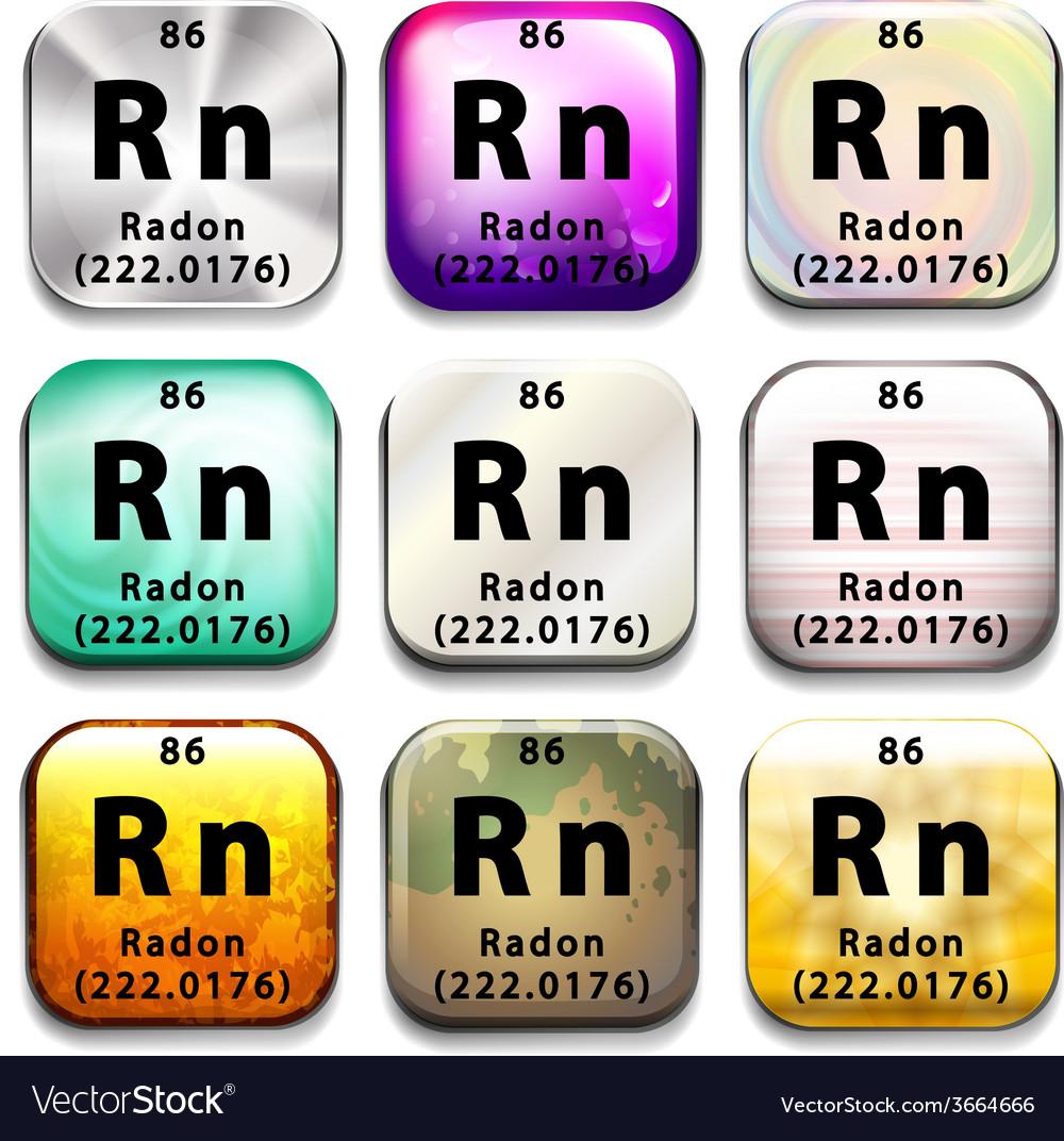 A periodic table showing radon vector   Price: 1 Credit (USD $1)