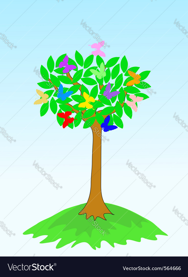 Beauty spring tree with butterflies vector | Price: 1 Credit (USD $1)