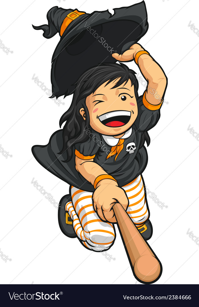 Cartoon of cheerful halloween witch vector | Price: 1 Credit (USD $1)