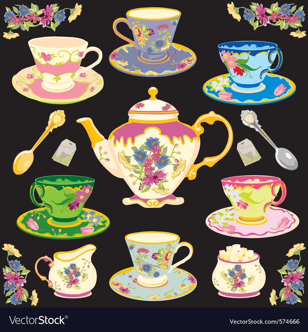 Fancy victorian style tea set vector