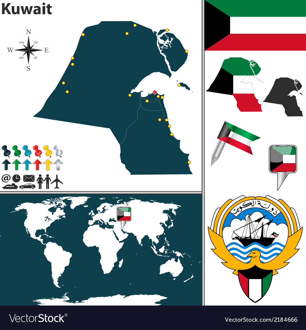 Kuwait map world vector | Price: 1 Credit (USD $1)