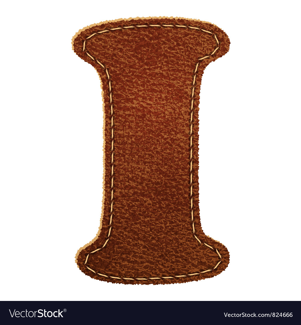 Leather textured letter i vector | Price: 1 Credit (USD $1)
