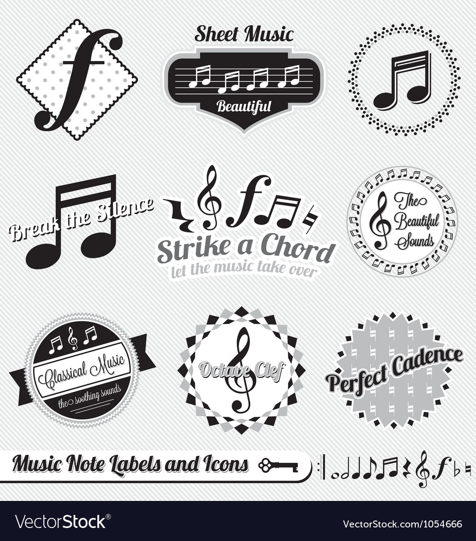 Music note labels and icons vector | Price: 1 Credit (USD $1)