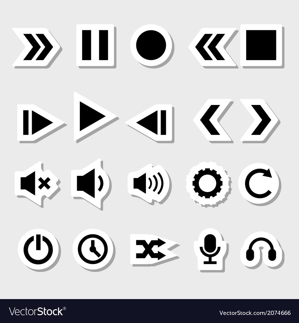 Player icons set as labels vector | Price: 1 Credit (USD $1)