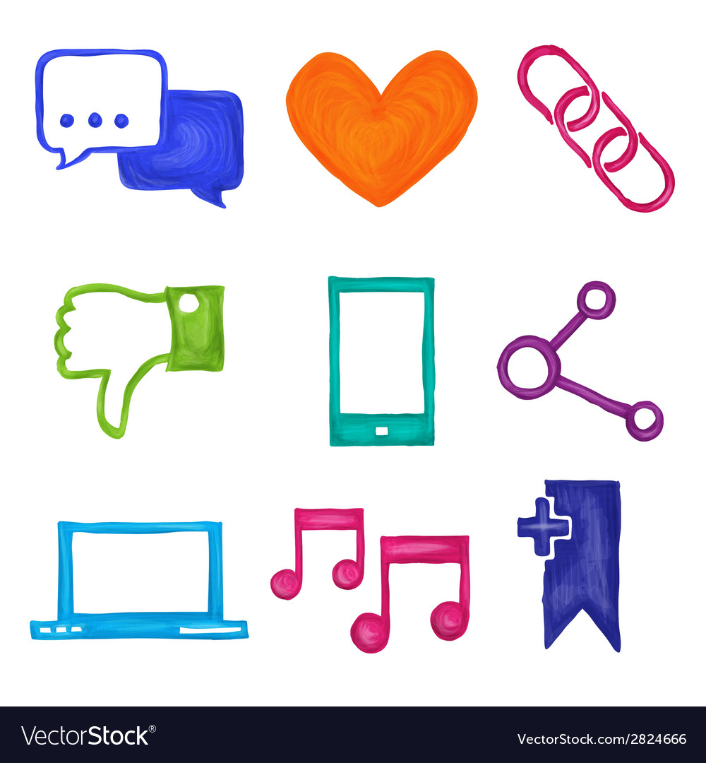 Social media icons painted vector | Price: 1 Credit (USD $1)