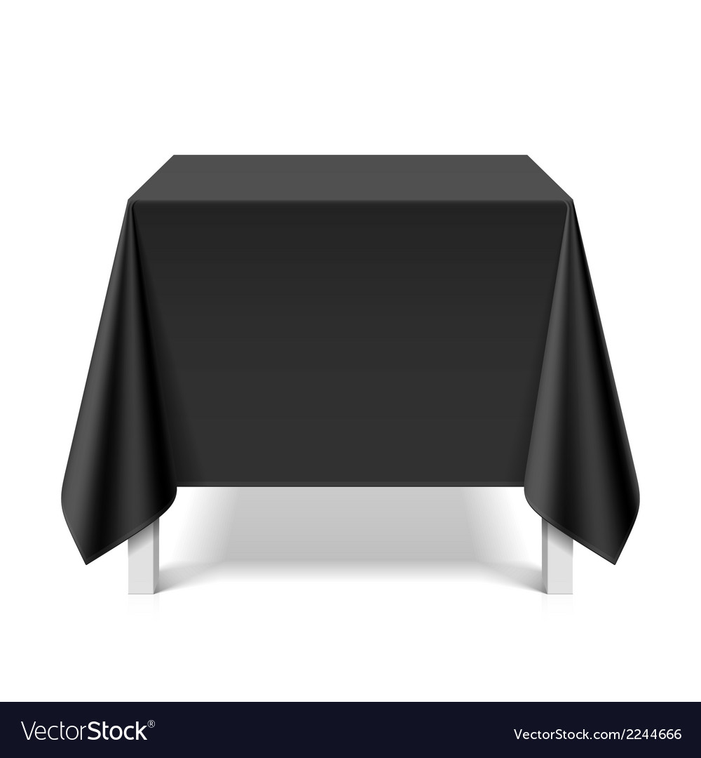 Square table covered with black tablecloth vector | Price: 1 Credit (USD $1)