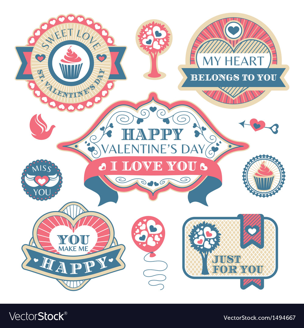 Abstract valentines day decorative labels vector | Price: 1 Credit (USD $1)